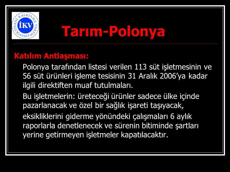 Tarım-Polonya Katılım Antlaşması: Polonya tarafından listesi verilen 113 süt işletmesinin ve 56 süt ürünleri işleme tesisinin 31 Aralık 2006'ya kadar