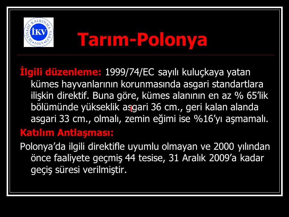 Tarım-Polonya İlgili düzenleme: 1999/74/EC sayılı kuluçkaya yatan kümes hayvanlarının korunmasında asgari standartlara ilişkin direktif. Buna göre, kü