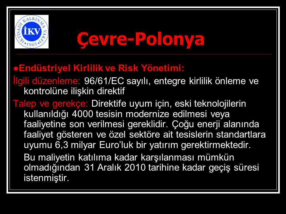 Çevre-Polonya ●Endüstriyel Kirlilik ve Risk Yönetimi: İlgili düzenleme: 96/61/EC sayılı, entegre kirlilik önleme ve kontrolüne ilişkin direktif Talep