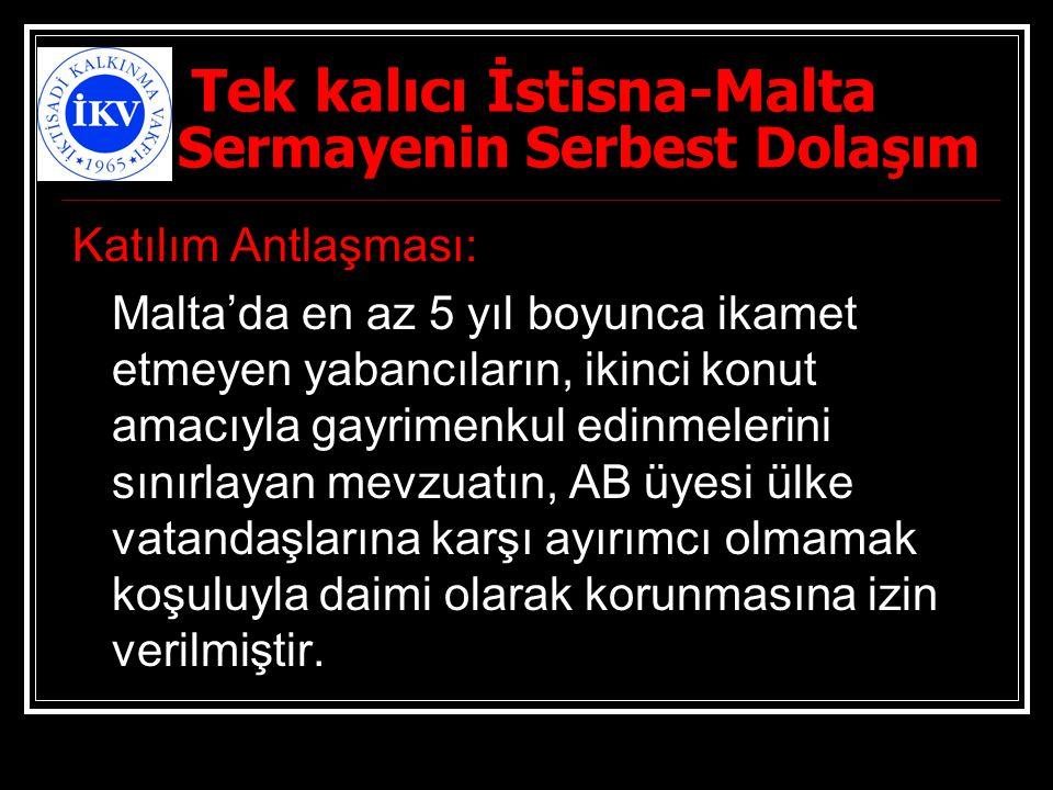 Tek kalıcı İstisna-Malta Sermayenin Serbest Dolaşım Katılım Antlaşması: Malta'da en az 5 yıl boyunca ikamet etmeyen yabancıların, ikinci konut amacıyl