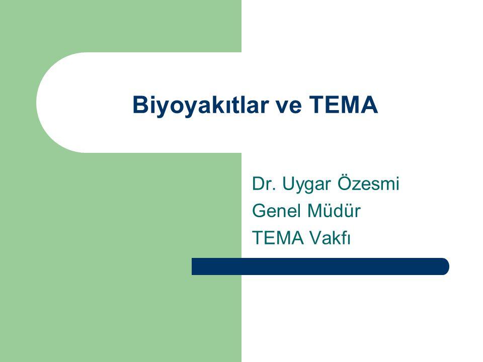 Biyoyakıtlar ve TEMA Dr. Uygar Özesmi Genel Müdür TEMA Vakfı