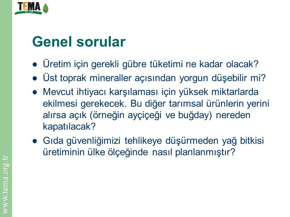 www.tema.org.tr Genel sorular Üretim için gerekli gübre tüketimi ne kadar olacak? Üst toprak mineraller açısından yorgun düşebilir mi? Mevcut ihtiyacı