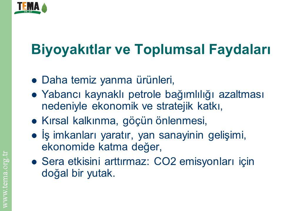 www.tema.org.tr Biyoyakıtlar ve Toplumsal Faydaları Daha temiz yanma ürünleri, Yabancı kaynaklı petrole bağımlılığı azaltması nedeniyle ekonomik ve st