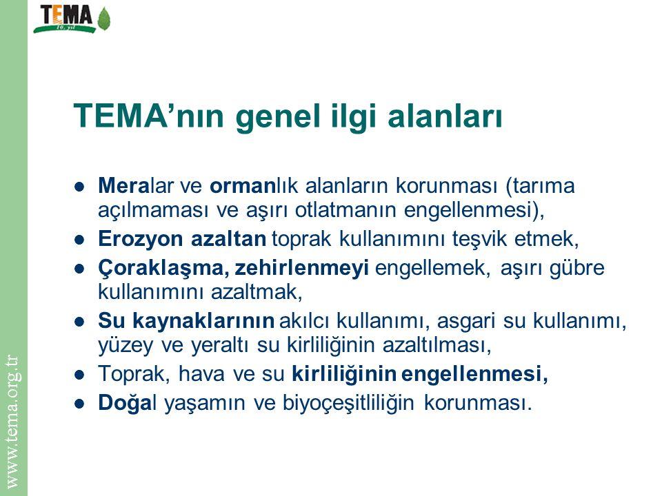 www.tema.org.tr TEMA'nın genel ilgi alanları Meralar ve ormanlık alanların korunması (tarıma açılmaması ve aşırı otlatmanın engellenmesi), Erozyon aza
