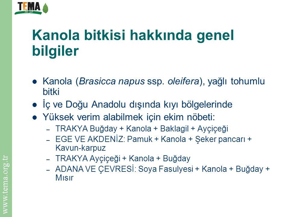 www.tema.org.tr Kanola bitkisi hakkında genel bilgiler Kanola (Brasicca napus ssp. oleifera), yağlı tohumlu bitki İç ve Doğu Anadolu dışında kıyı bölg