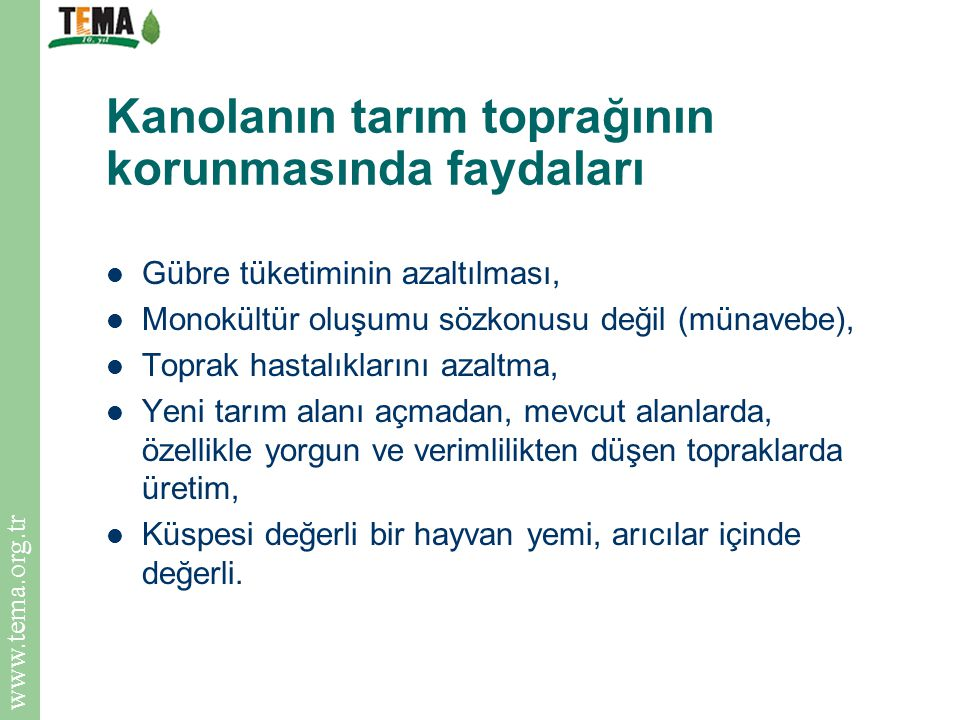 www.tema.org.tr Kanolanın tarım toprağının korunmasında faydaları Gübre tüketiminin azaltılması, Monokültür oluşumu sözkonusu değil (münavebe), Toprak