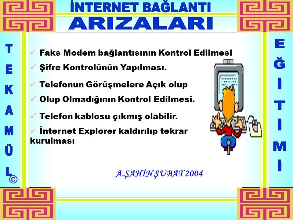 A.ŞAHİN ŞUBAT 2004 Faks Modem bağlantısının Kontrol Edilmesi Şifre Kontrolünün Yapılması.