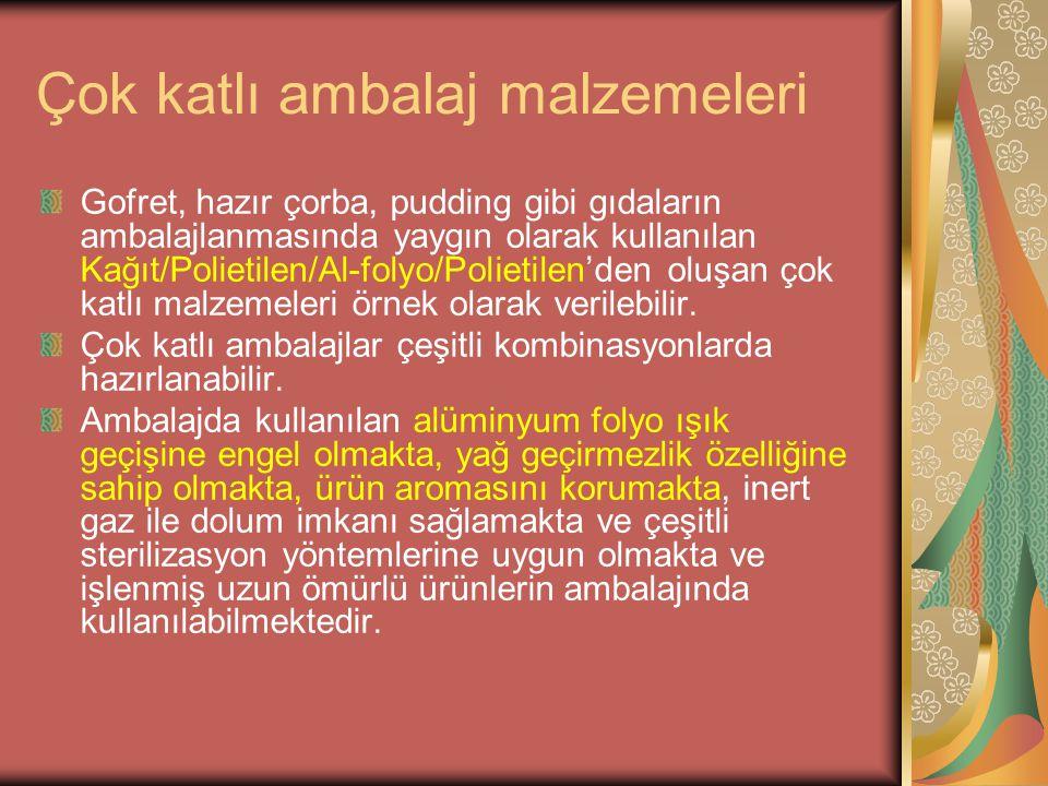 Çok katlı ambalaj malzemeleri Gofret, hazır çorba, pudding gibi gıdaların ambalajlanmasında yaygın olarak kullanılan Kağıt/Polietilen/Al-folyo/Polieti