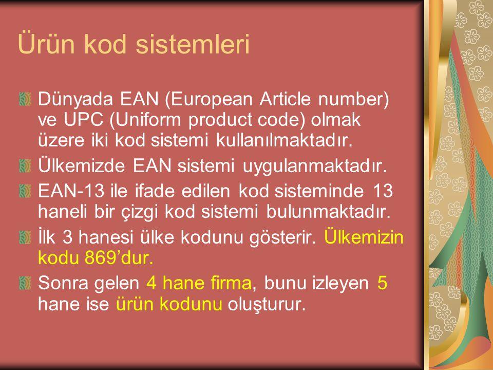 Ürün kod sistemleri Dünyada EAN (European Article number) ve UPC (Uniform product code) olmak üzere iki kod sistemi kullanılmaktadır. Ülkemizde EAN si