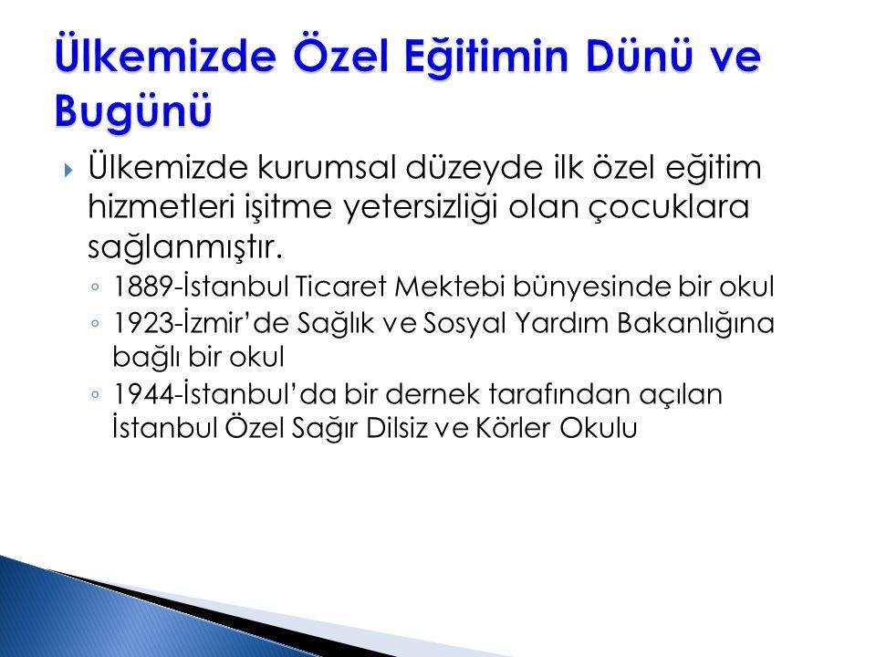  Ülkemizde kurumsal düzeyde ilk özel eğitim hizmetleri işitme yetersizliği olan çocuklara sağlanmıştır. ◦ 1889-İstanbul Ticaret Mektebi bünyesinde bi