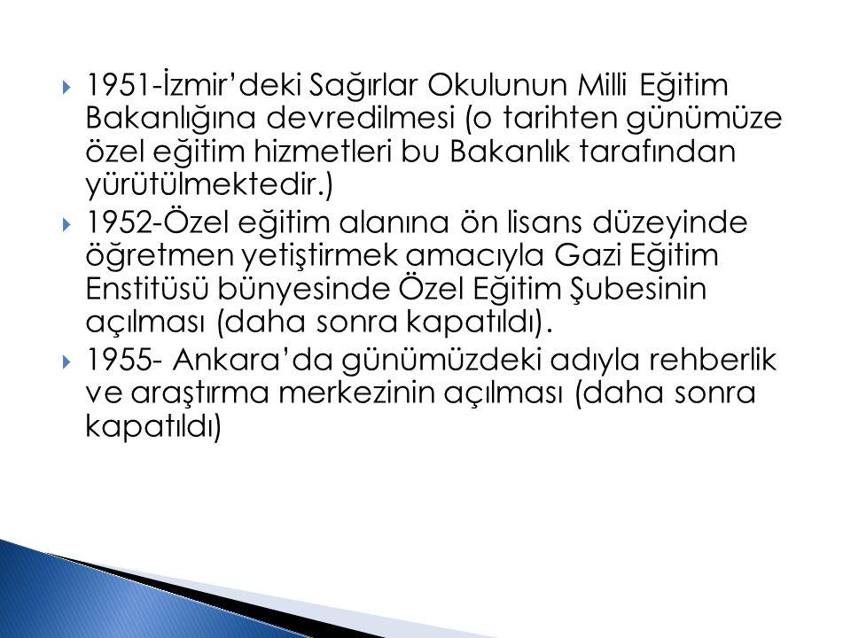  1951-İzmir'deki Sağırlar Okulunun Milli Eğitim Bakanlığına devredilmesi (o tarihten günümüze özel eğitim hizmetleri bu Bakanlık tarafından yürütülme