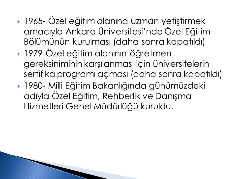  1983- 2916 Sayılı Özel Eğitime Muhtaç Çocuklar Kanunu çıkarıldı (daha önceleri özel eğitim hizmetleri yönetmeliklerle düzenleniyordu)  1983- Özel eğitim alanına lisans düzeyinde öğretmen yetiştirmek amacıyla Anadolu Üniversitesi Eğitim Fakültesinde Özel Eğitim Öğretmenliği Programı açıldı (daha sonraları bunu diğer üniversiteler izledi)  1990- Anadolu Üniversitesi Eğitim Fakültesinde Özel Eğitim Bölümü kuruldu (daha sonraları diğer üniversitelere yayıldı).