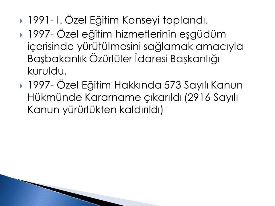  1991- I. Özel Eğitim Konseyi toplandı.  1997- Özel eğitim hizmetlerinin eşgüdüm içerisinde yürütülmesini sağlamak amacıyla Başbakanlık Özürlüler İd