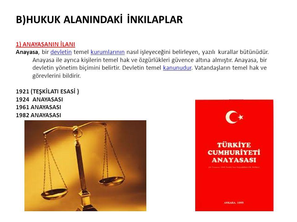 B)HUKUK ALANINDAKİ İNKILAPLAR 1) ANAYASANIN İLANI Anayasa, bir devletin temel kurumlarının nasıl işleyeceğini belirleyen, yazılı kurallar bütünüdür. A