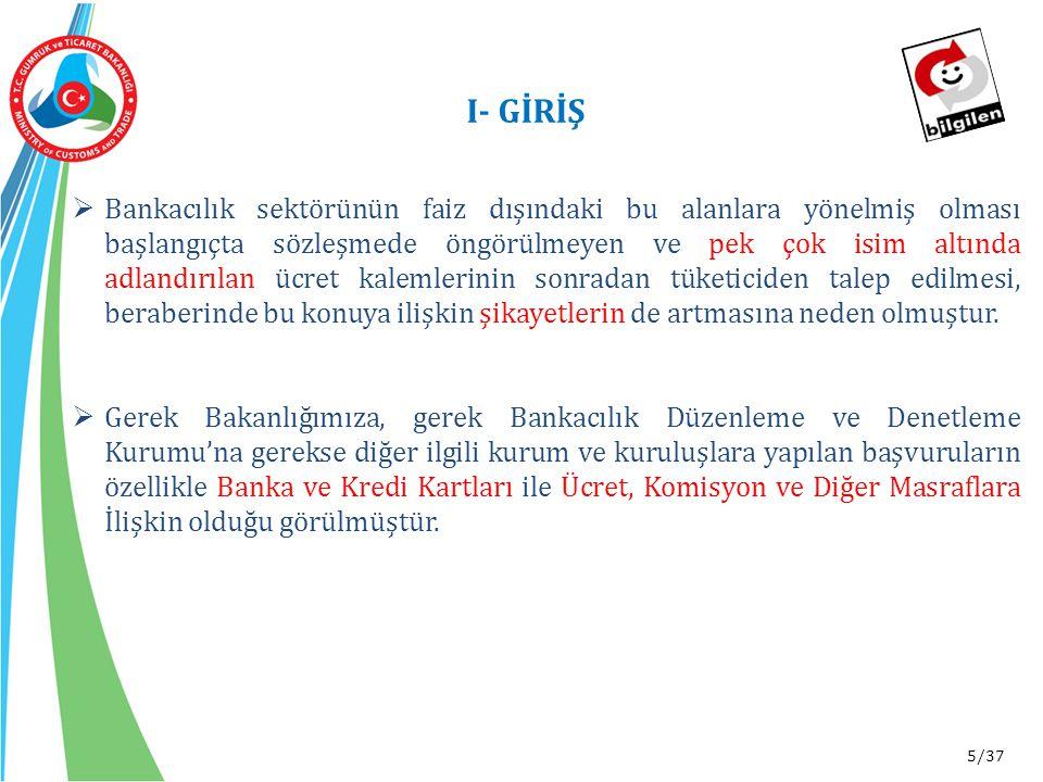 16/37 III- FAİZ DIŞI GELİRLERE İLİŞKİN ÜLKEMİZDEKİ MEVCUT DURUM *Aralık 2014 itibariyle-Bankalararası Kart Merkezi (BKM)