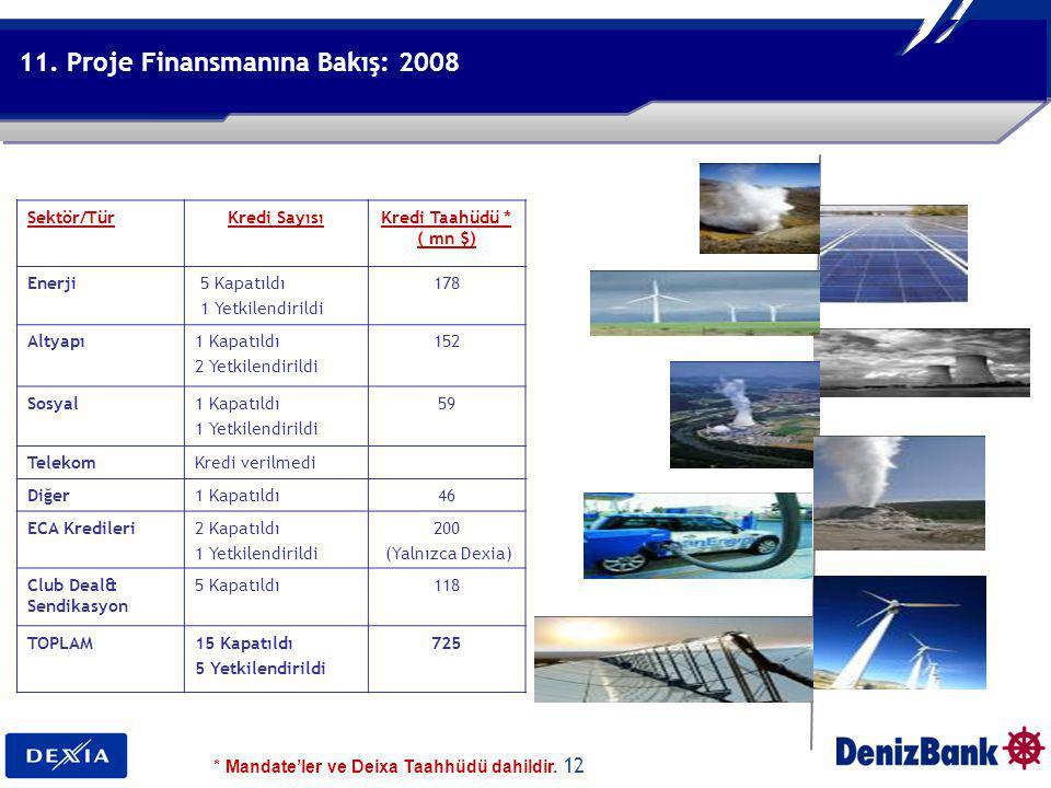 12 Denizbank Financial Services Group 11. Proje Finansmanına Bakış: 2008 Sektör/TürKredi SayısıKredi Taahüdü * ( mn $) Enerji 5 Kapatıldı 1 Yetkilendi