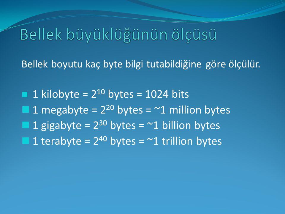 Bellek boyutu kaç byte bilgi tutabildiğine göre ölçülür. 1 kilobyte = 2 10 bytes = 1024 bits 1 megabyte = 2 20 bytes = ~1 million bytes 1 gigabyte = 2