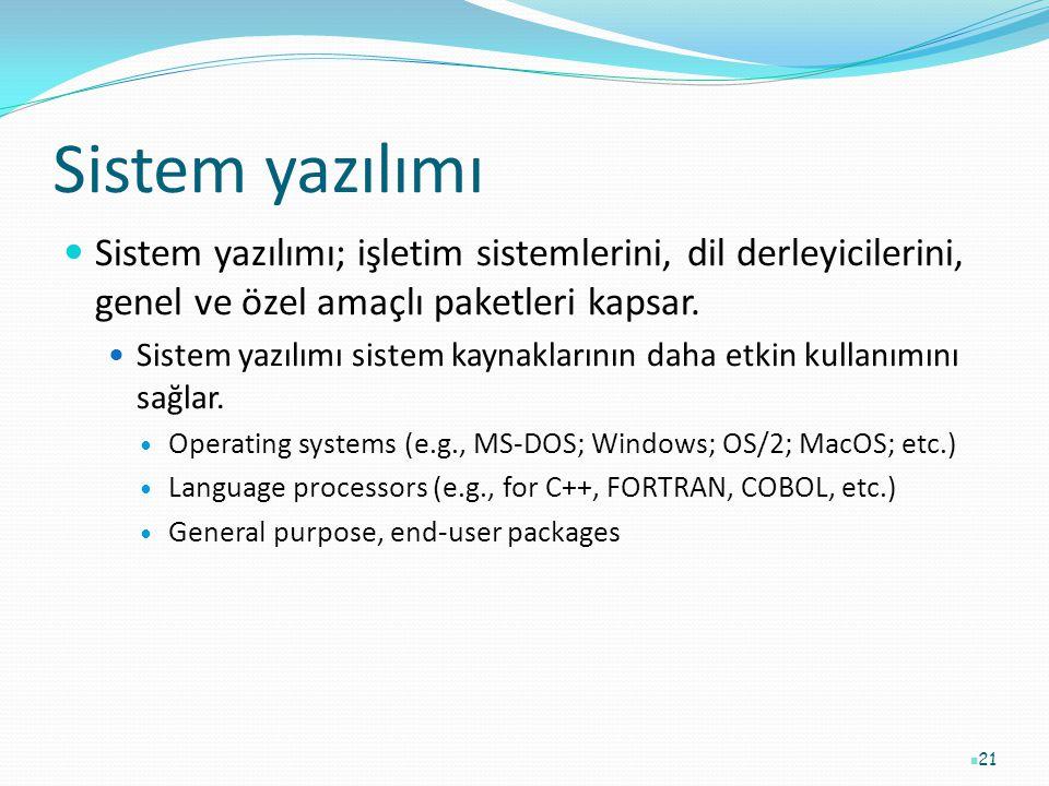 Sistem yazılımı Sistem yazılımı; işletim sistemlerini, dil derleyicilerini, genel ve özel amaçlı paketleri kapsar. Sistem yazılımı sistem kaynaklarını