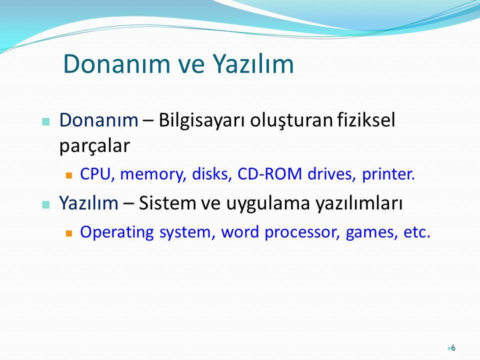 6 Donanım ve Yazılım Donanım – Bilgisayarı oluşturan fiziksel parçalar CPU, memory, disks, CD-ROM drives, printer. Yazılım – Sistem ve uygulama yazılı