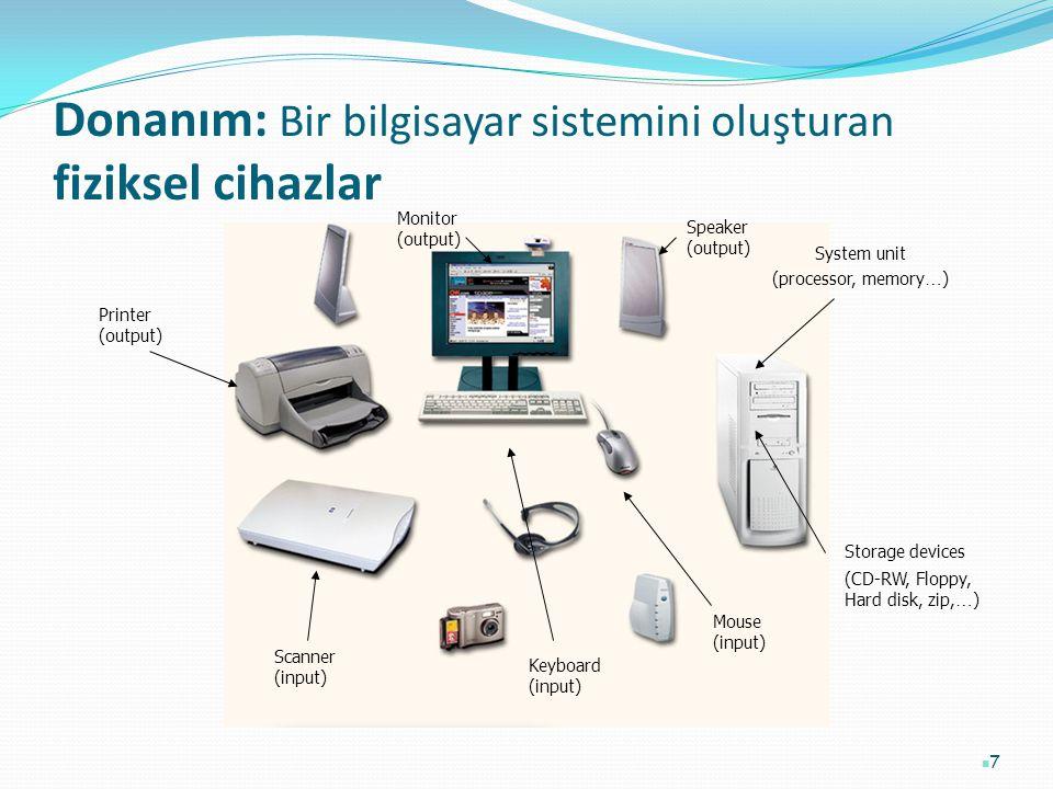 Donanım: Bir bilgisayar sistemini oluşturan fiziksel cihazlar 7 Printer (output) Monitor (output) Speaker (output) Scanner (input) Mouse (input) Keybo