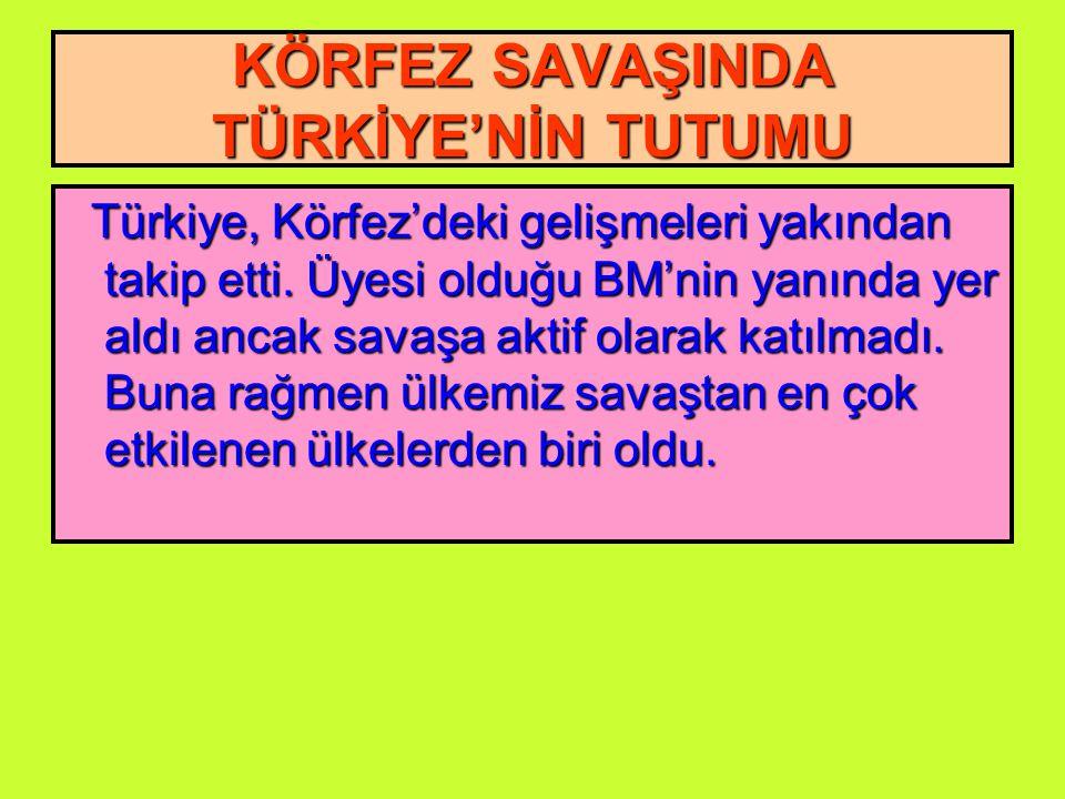 KÖRFEZ SAVAŞINDA TÜRKİYE'NİN TUTUMU Türkiye, Körfez'deki gelişmeleri yakından takip etti.