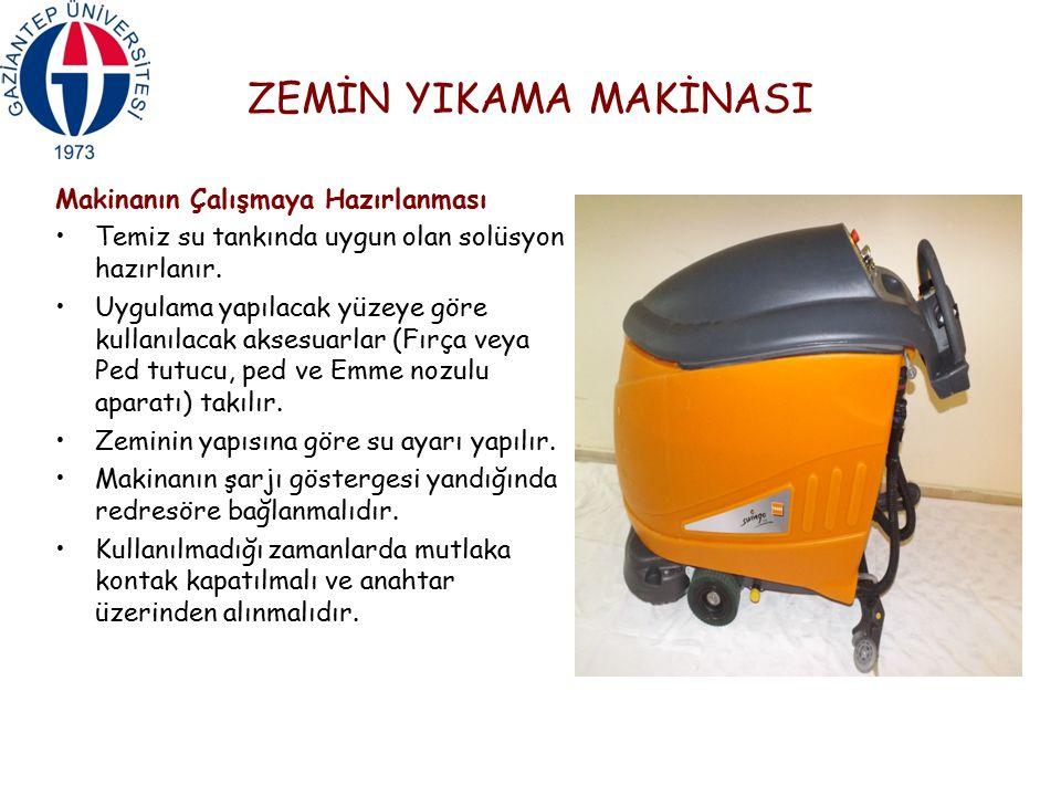 ZEMİN YIKAMA MAKİNASI Makinanın Çalışmaya Hazırlanması Temiz su tankında uygun olan solüsyon hazırlanır. Uygulama yapılacak yüzeye göre kullanılacak a