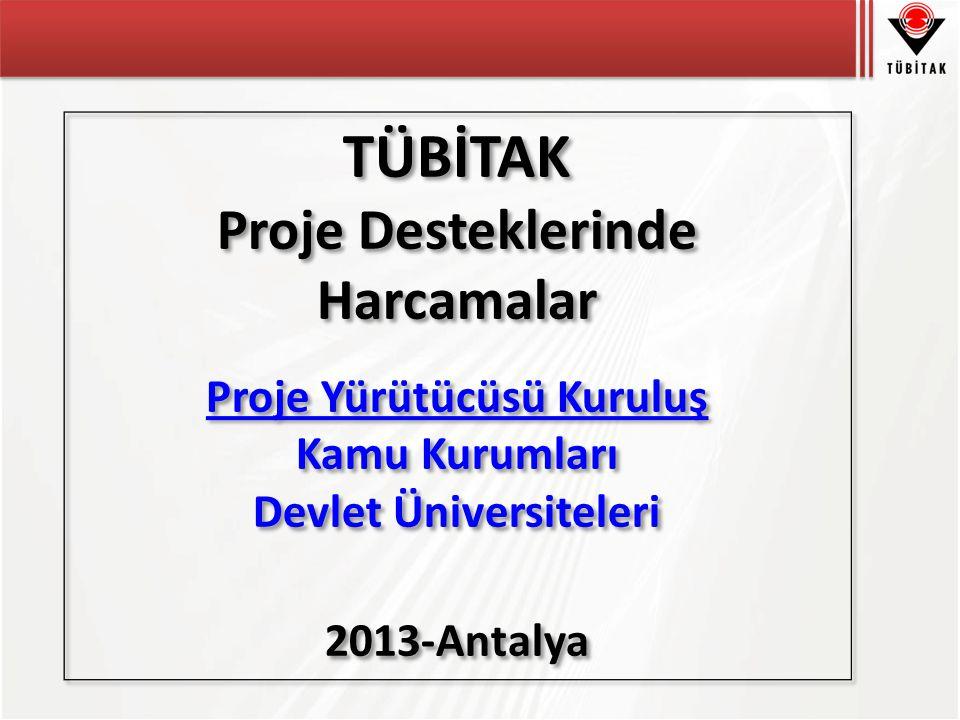 TÜBİTAK Proje Desteklerinde Harcamalar Proje Yürütücüsü Kuruluş Kamu Kurumları Devlet Üniversiteleri 2013-Antalya TÜBİTAK Proje Desteklerinde Harcamalar Proje Yürütücüsü Kuruluş Kamu Kurumları Devlet Üniversiteleri 2013-Antalya