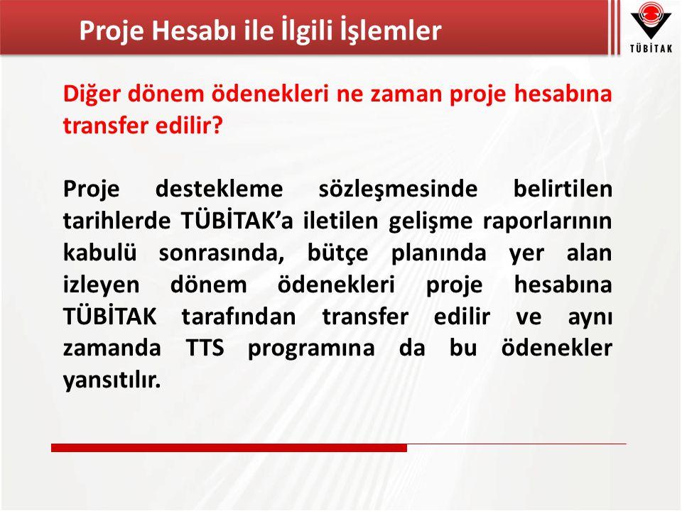 Diğer dönem ödenekleri ne zaman proje hesabına transfer edilir.