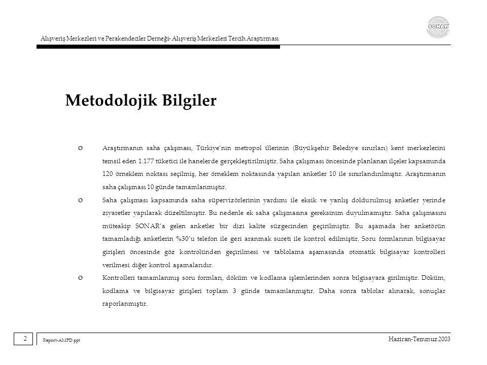 Haziran-Temmuz 2003 Alışveriş Merkezleri ve Perakendeciler Derneği- Alışveriş Merkezleri Tercih Araştırması Report-AMPD.ppt Metodolojik Bilgiler o Ara
