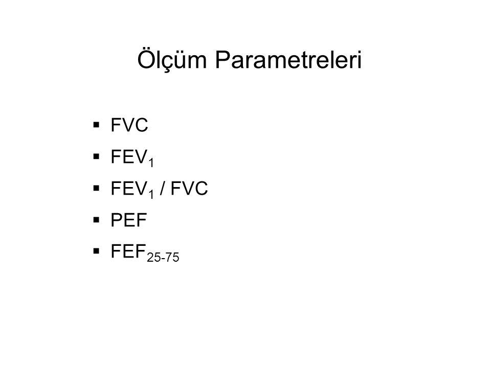 Ölçüm Parametreleri  FVC  FEV 1  FEV 1 / FVC  PEF  FEF 25-75