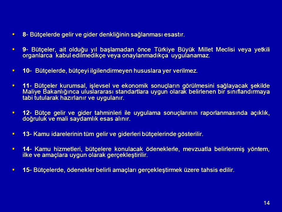 14  8- Bütçelerde gelir ve gider denkliğinin sağlanması esastır.  9- Bütçeler, ait olduğu yıl başlamadan önce Türkiye Büyük Millet Meclisi veya yetk