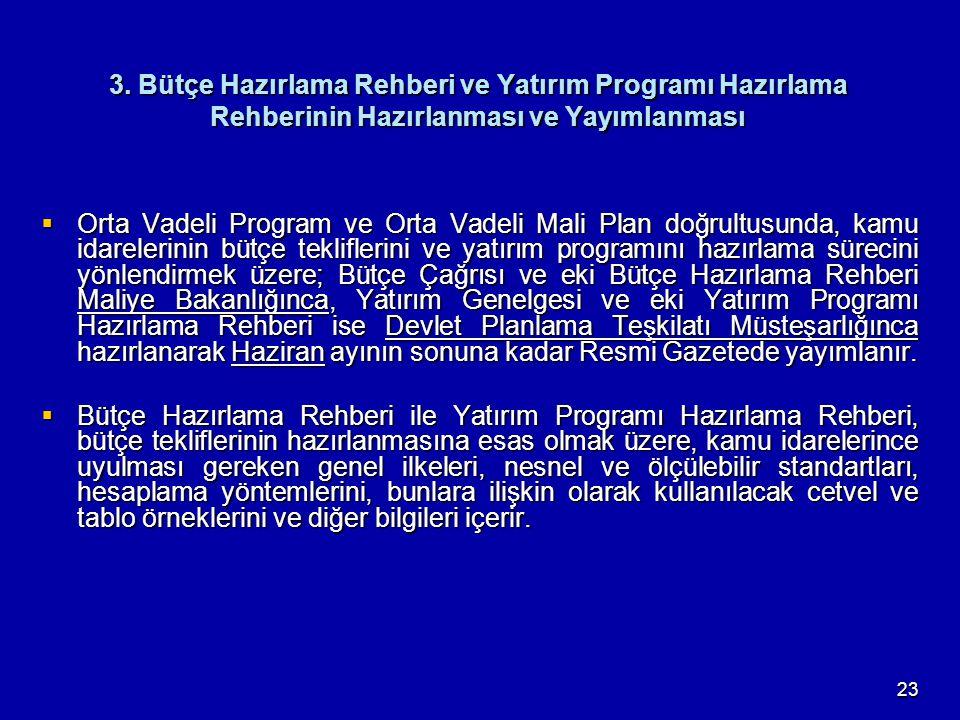 23 3. Bütçe Hazırlama Rehberi ve Yatırım Programı Hazırlama Rehberinin Hazırlanması ve Yayımlanması  Orta Vadeli Program ve Orta Vadeli Mali Plan doğ