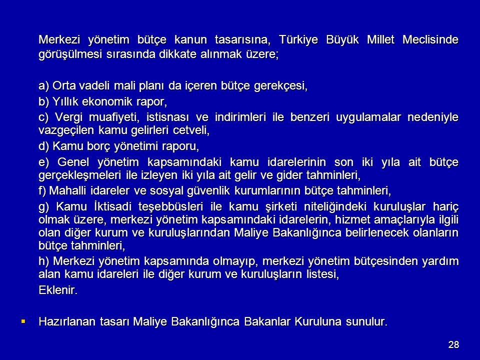 28 Merkezi yönetim bütçe kanun tasarısına, Türkiye Büyük Millet Meclisinde görüşülmesi sırasında dikkate alınmak üzere; a) Orta vadeli mali planı da i