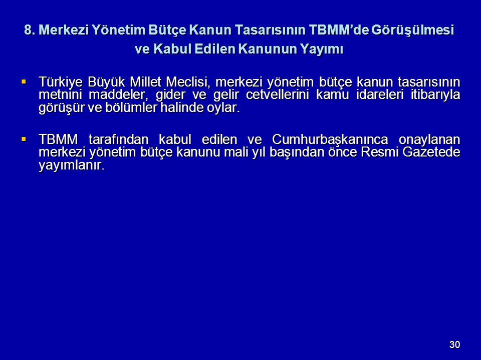 30 8. Merkezi Yönetim Bütçe Kanun Tasarısının TBMM'de Görüşülmesi ve Kabul Edilen Kanunun Yayımı  Türkiye Büyük Millet Meclisi, merkezi yönetim bütçe