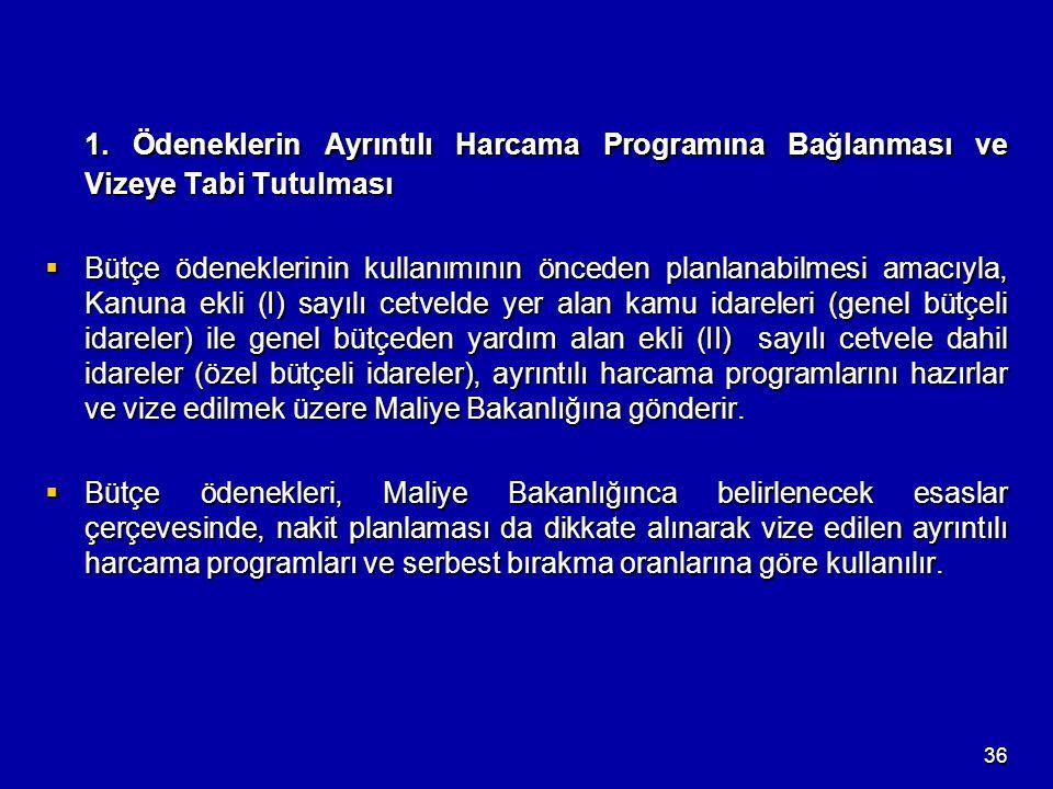 36 1. Ödeneklerin Ayrıntılı Harcama Programına Bağlanması ve Vizeye Tabi Tutulması  Bütçe ödeneklerinin kullanımının önceden planlanabilmesi amacıyla
