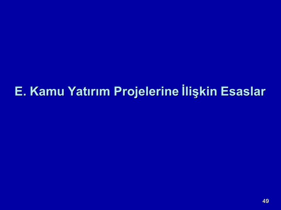 49 E. Kamu Yatırım Projelerine İlişkin Esaslar