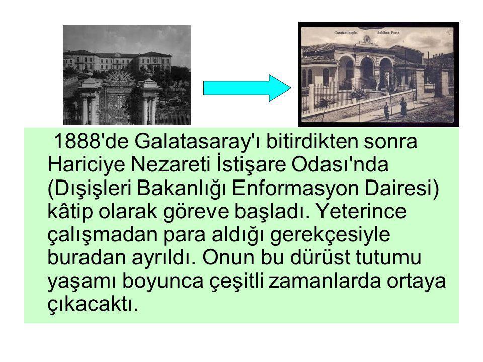 1888'de Galatasaray'ı bitirdikten sonra Hariciye Nezareti İstişare Odası'nda (Dışişleri Bakanlığı Enformasyon Dairesi) kâtip olarak göreve başladı. Ye