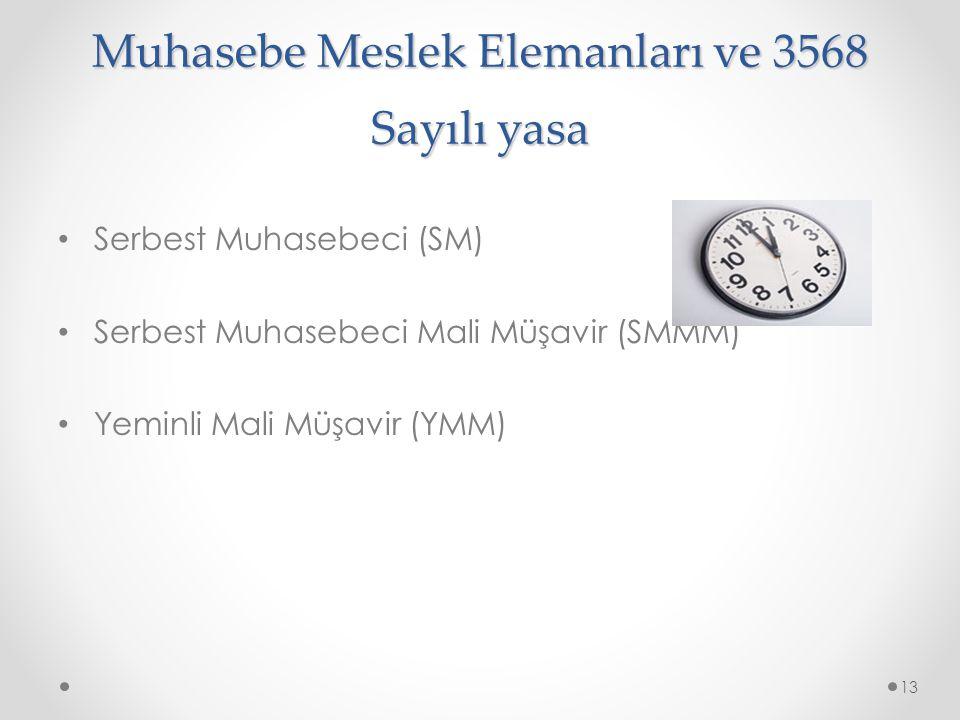 Muhasebe Meslek Elemanları ve 3568 Sayılı yasa Serbest Muhasebeci (SM) Serbest Muhasebeci Mali Müşavir (SMMM) Yeminli Mali Müşavir (YMM) 13