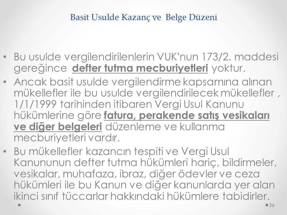 Basit Usulde Kazanç ve Belge Düzeni Bu usulde vergilendirilenlerin VUK ' nun 173/2. maddesi gereğince defter tutma mecburiyetleri yoktur. Ancak basit