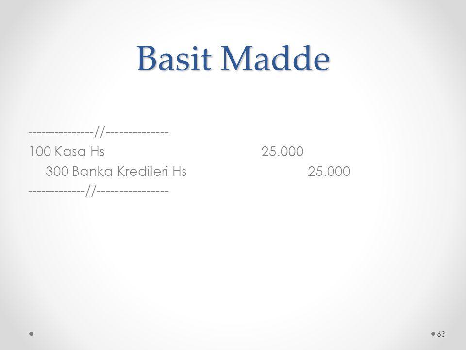 Basit Madde ---------------//-------------- 100 Kasa Hs25.000 300 Banka Kredileri Hs25.000 -------------//---------------- 63