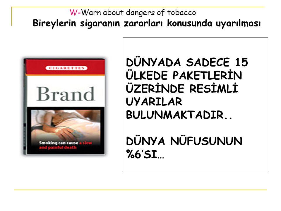 W-Warn about dangers of tobacco Bireylerin sigaranın zararları konusunda uyarılması DÜNYADA SADECE 15 ÜLKEDE PAKETLERİN ÜZERİNDE RESİMLİ UYARILAR BULUNMAKTADIR..