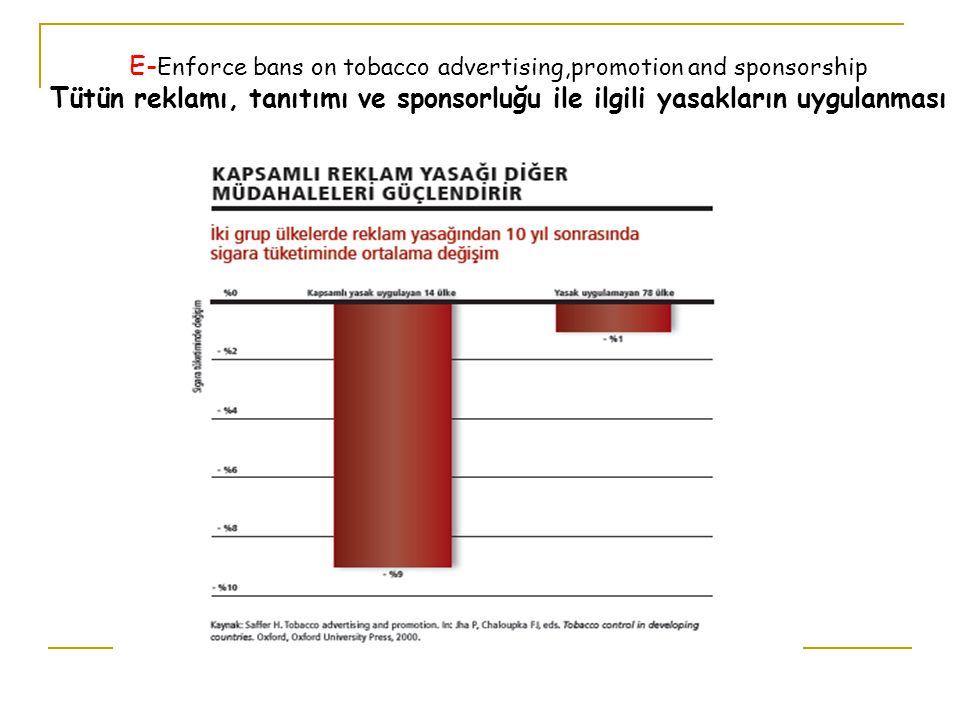 E- Enforce bans on tobacco advertising,promotion and sponsorship Tütün reklamı, tanıtımı ve sponsorluğu ile ilgili yasakların uygulanması