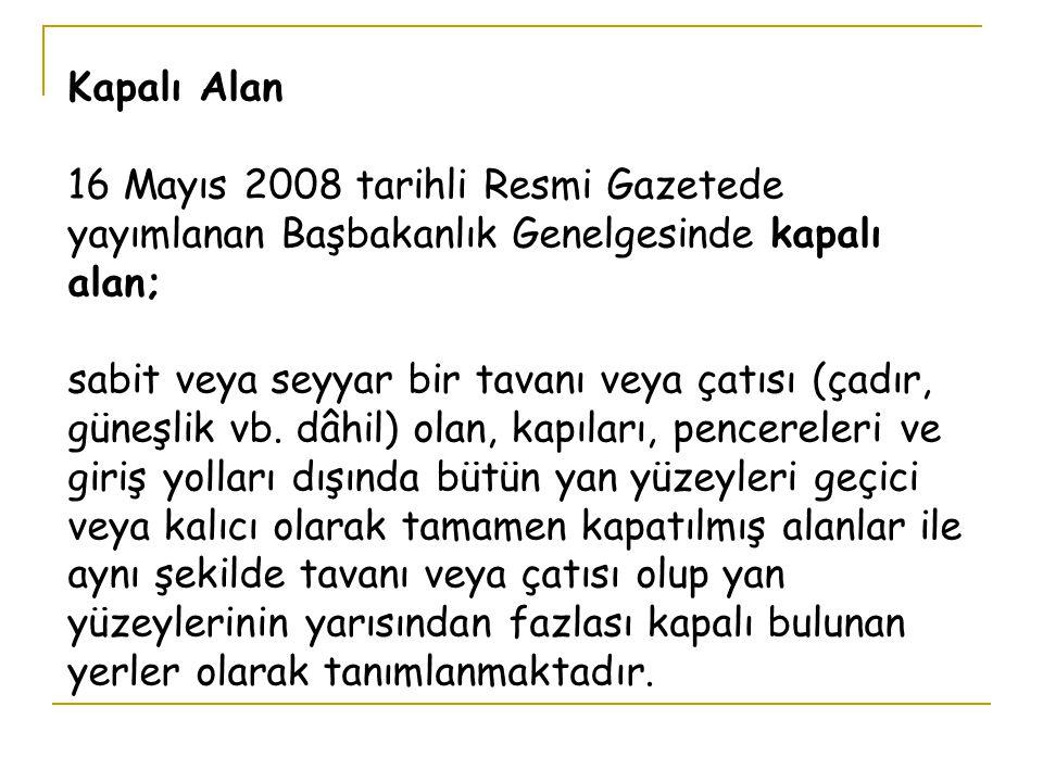 Kapalı Alan 16 Mayıs 2008 tarihli Resmi Gazetede yayımlanan Başbakanlık Genelgesinde kapalı alan; sabit veya seyyar bir tavanı veya çatısı (çadır, güneşlik vb.