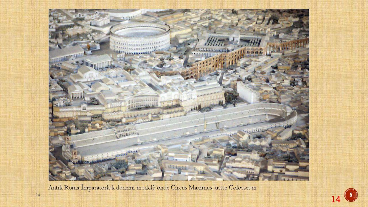 Antik Roma İ mparatorluk dönemi modeli: önde Circus Maximus, üstte Colosseum 14 5