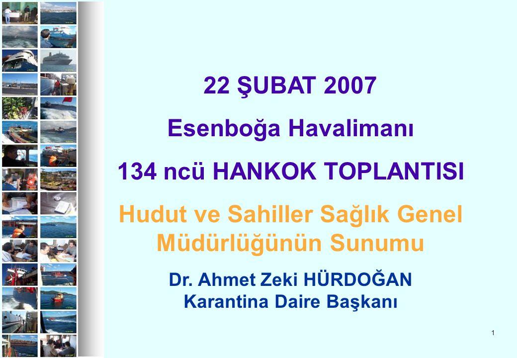 1 22 ŞUBAT 2007 Esenboğa Havalimanı 134 ncü HANKOK TOPLANTISI Hudut ve Sahiller Sağlık Genel Müdürlüğünün Sunumu Dr. Ahmet Zeki HÜRDOĞAN Karantina Dai