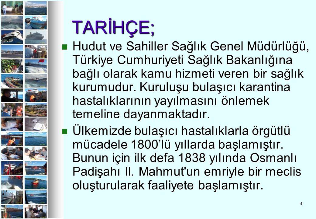4 TARİHÇE; TARİHÇE; Hudut ve Sahiller Sağlık Genel Müdürlüğü, Türkiye Cumhuriyeti Sağlık Bakanlığına bağlı olarak kamu hizmeti veren bir sağlık kurumu