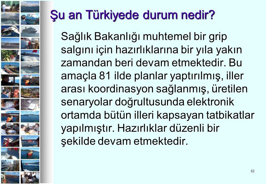 62 Şu an Türkiyede durum nedir? Şu an Türkiyede durum nedir? Sağlık Bakanlığı muhtemel bir grip salgını için hazırlıklarına bir yıla yakın zamandan be