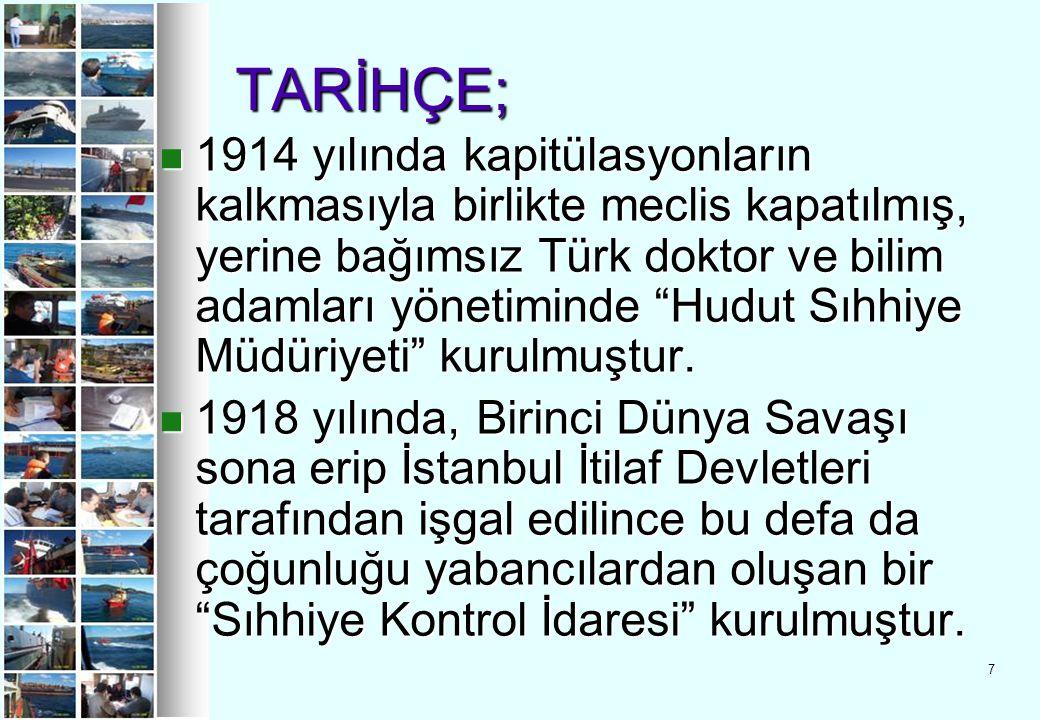 """7 TARİHÇE; TARİHÇE; 1914 yılında kapitülasyonların kalkmasıyla birlikte meclis kapatılmış, yerine bağımsız Türk doktor ve bilim adamları yönetiminde """""""
