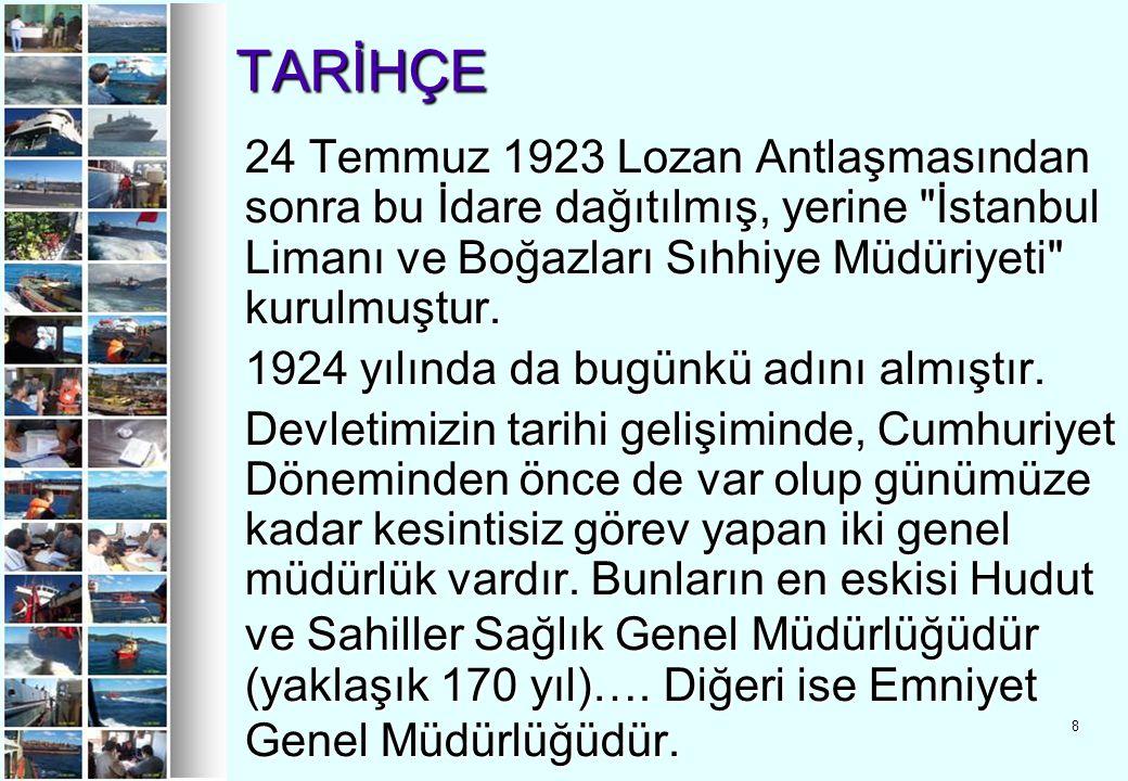 8 TARİHÇE TARİHÇE 24 Temmuz 1923 Lozan Antlaşmasından sonra bu İdare dağıtılmış, yerine