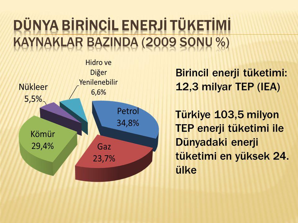 Birincil enerji tüketimi: 12,3 milyar TEP (IEA) Türkiye 103,5 milyon TEP enerji tüketimi ile Dünyadaki enerji tüketimi en yüksek 24. ülke